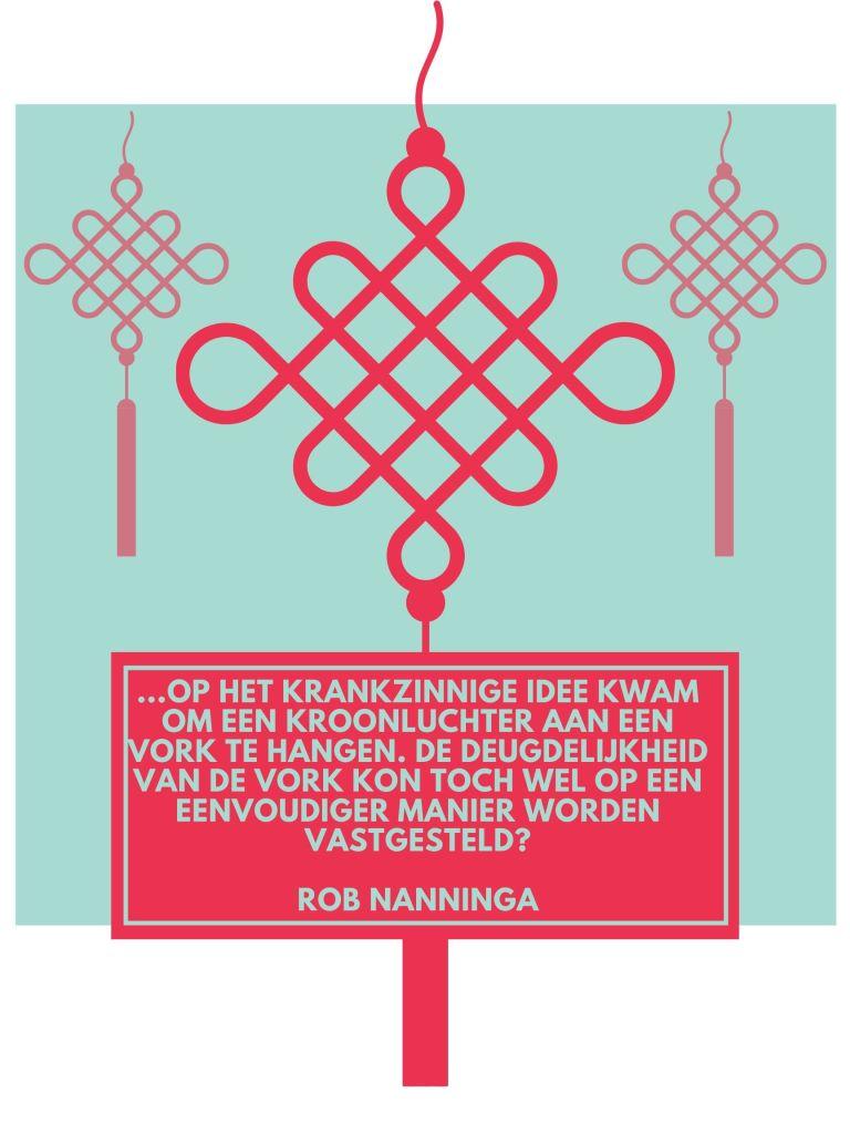 Rob Nanninga quote  ... op het krankzinnige idee kwam om een kroonluchter aan een vork te hangen. De deugdelijkheid van de vork kon toch wel op een eenvoudiger manier worden vastgesteld? Rob Nanninga